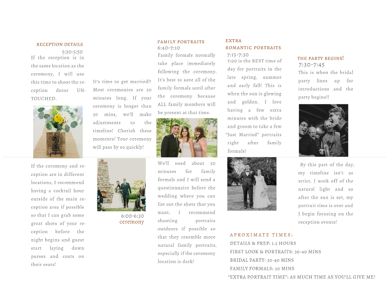 Wedding Day Sample Timeline | Third Coast Wedding Photo